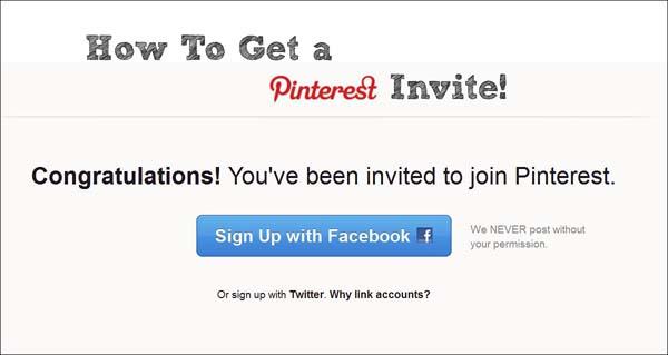 Get an Invite - Pinterest